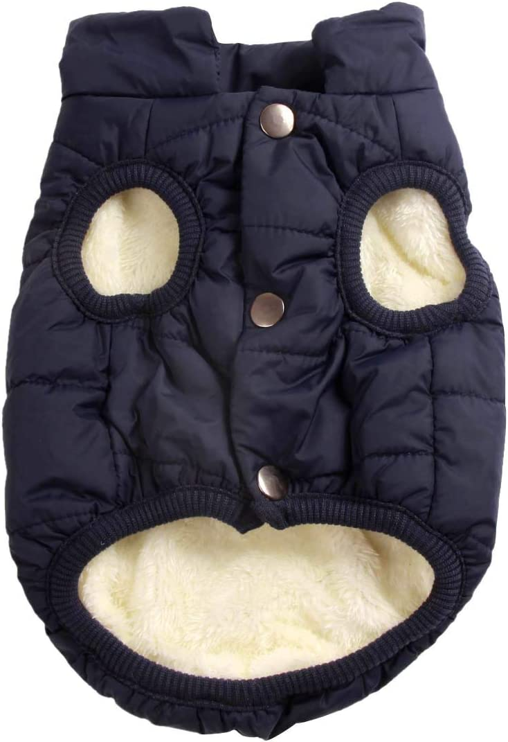 JoyDaog 2 Layers Fleece Lined Warm Dog Jacket for Puppy Winter Cold Weather,Soft Windproof Small Dog Coat