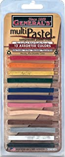 product image for General Pencil Assorted Multi Pastel Compressed Chalk Sticks, 12-Pack