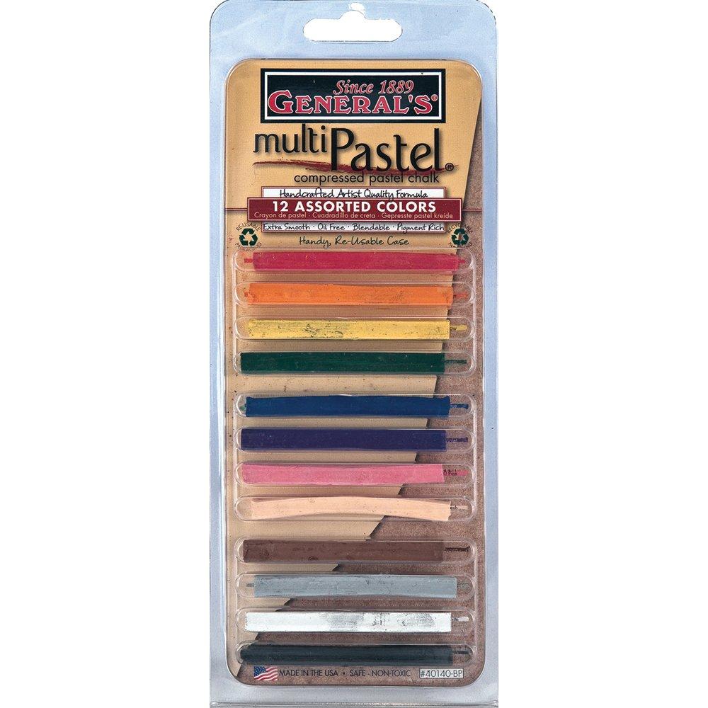 General Pencil Assorted Multi Pastel Compressed Chalk Sticks, 12-Pack