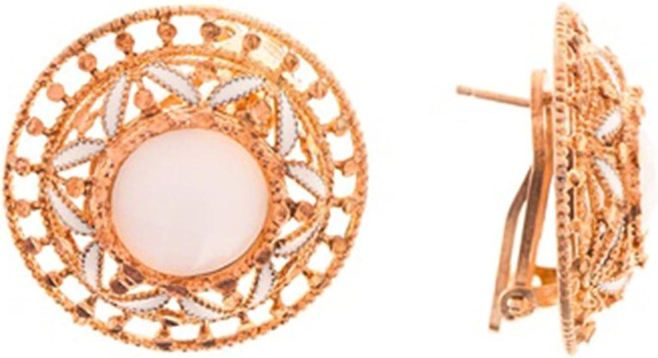 Córdoba Jewels | Pendientes en plata de ley bañada en oro rosa con diseño Filigrana nacarado