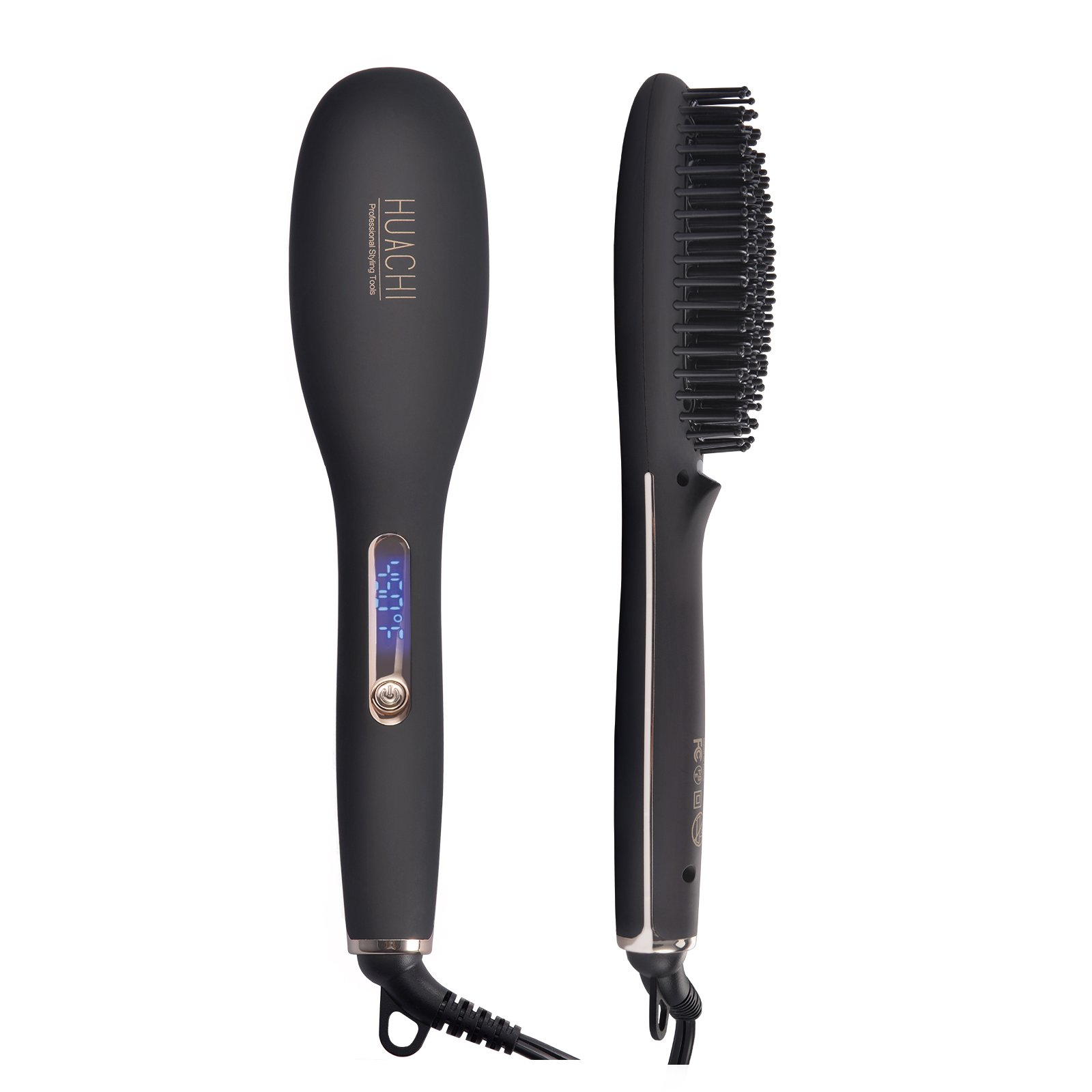 Huachi Hair Straightener Brush, 2 In 1 Ceramic Ionic Hair Straightening Brush, Portable Travel Straighteners with Auto Shut Off Function, Adjustable Temperature 330F-450F, Black