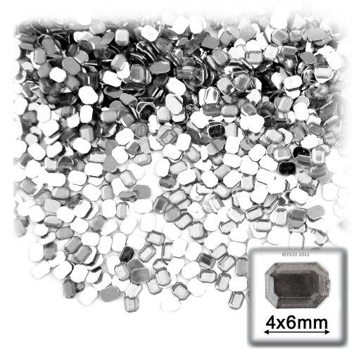 長方形の八角形Craftsコンセント288-pieceアクリルアルミ箔フラットバックラインストーン、4by 6mm、クリアの商品画像