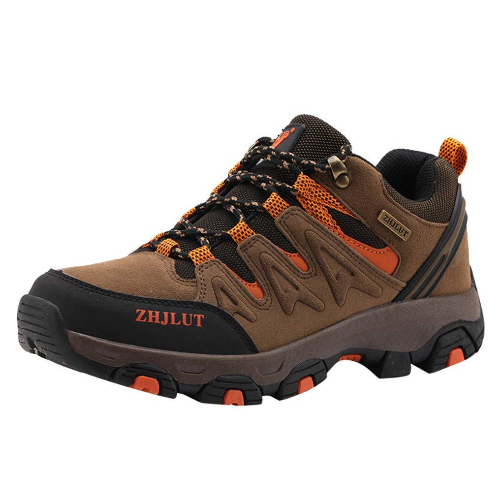 Peize Men's Hiking Shoes Non-Slip Waterproof Sneaker Breathable Low Top Cushion Work Shoes for Outdoor Walking Trekking Shoes Brown