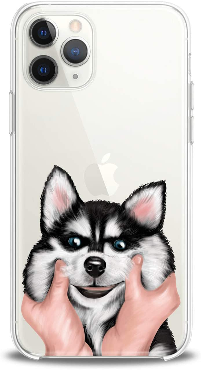 Lex Altern Case Compatible with iPhone 12 Mini 5G 11 Pro Xs Max Xr 8 X 7 Plus 6 SE 5 Hugging Girl Black Dog Soft Slim fit Pet Clear Lightweight Cover Women White Smooth Print Husky Design Art Kids
