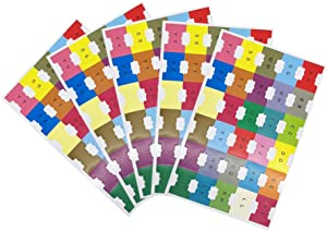 Chris-Wang 5 Sheets Self-Stick Alphabetical A-Z Titles/Blank Self Adhesive DIY Multi-Color Small Lable Marker Notes/Page Index Dividers, 30 Tabs per Sheets, Pack of 150 Tabs