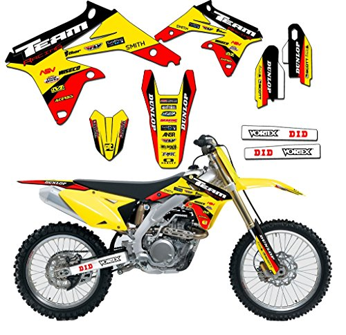 Decals Team Suzuki - Team Racing Graphics kit compatible with Suzuki 2005-2006 RMZ 450, EVOLV