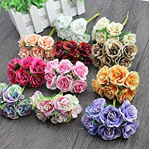 6 Pcs/LotMini Silk Daisy Artificial Rose Flowers Bouquet DIY Wedding Decoration Paper Flower For Scrapbooking Flower 78