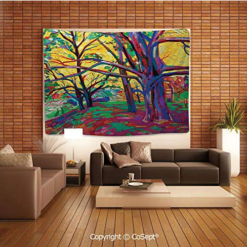 PUTIEN Tapestry Wall Hanging Wall Decor,Mod Funk Art Style Painting of a Colorful Forest in The Spring Time Nature Earth Boho,Tapestry Art Print Tapestry for RoomMulti
