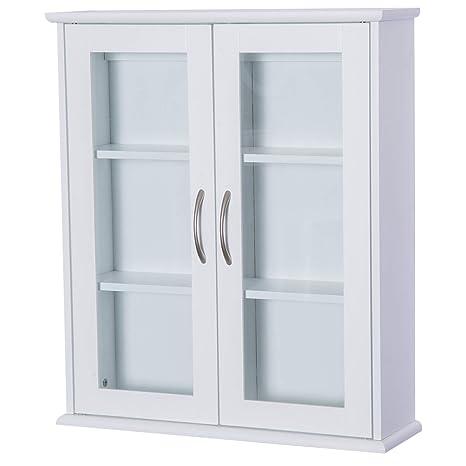HOMCOM Wandschrank Hängeschrank Badschrank Mehrzweckschrank Küchenschrank  Medizinschrank 2 x Glastür Holz Weiß 53,5 x 16 x 62,5 cm