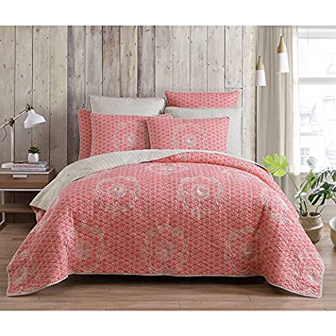 3 Piece Coral Orange White King Quilt Set, Floral Themed Reversible Bedding Colorful Cheery Boho Bohemian Cottage Flower Shabby Chic Cabin Modern Vintage Antique, - Cottage Flower Bedding