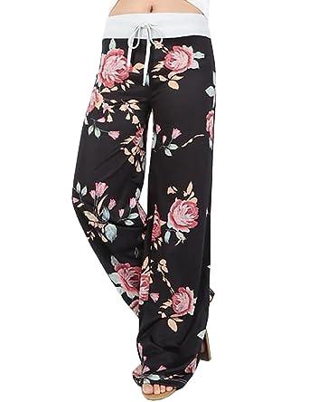 df9180e400 VintageRose Women's Plus Size Casual Floral Print Drawstring Wide Leg Pants  Yoga at Amazon Women's Clothing store: