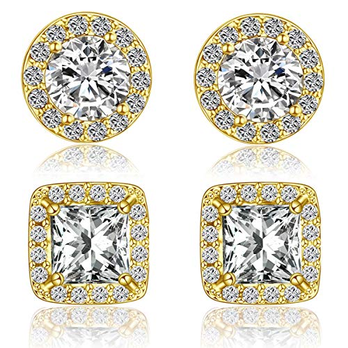 Quinlivan Duo 2 Pairs Premium Halo Stud Earrings, Round Princess Cut Cubic Zirconia Earrings Sets Lightweight for Women, Girls (gold) ()