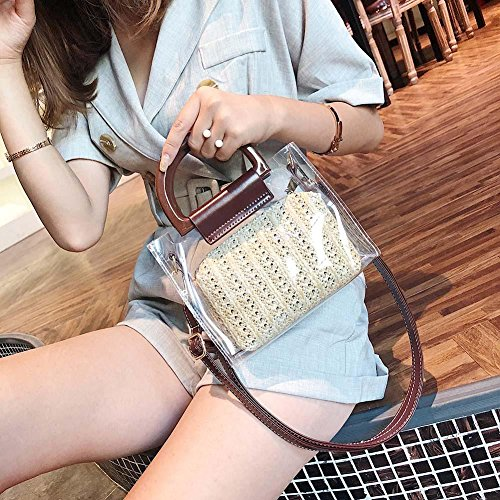 PVC Bags Mini Clear 2 Handbags Messenger Aediea Women Beach Straw Shoulder Summer wx00BAHq