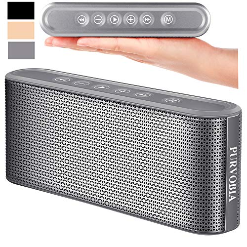 PURVOBIA Ultra Thin Slim Bluetooth Speaker - Bluetooth 5.0 Wireless Speaker Mini Portable Player Deep Bass Stereo Sound | Smart Touch Control w/ 20 Hour Playtime 5000mAh Power Bank Battery (Silver)