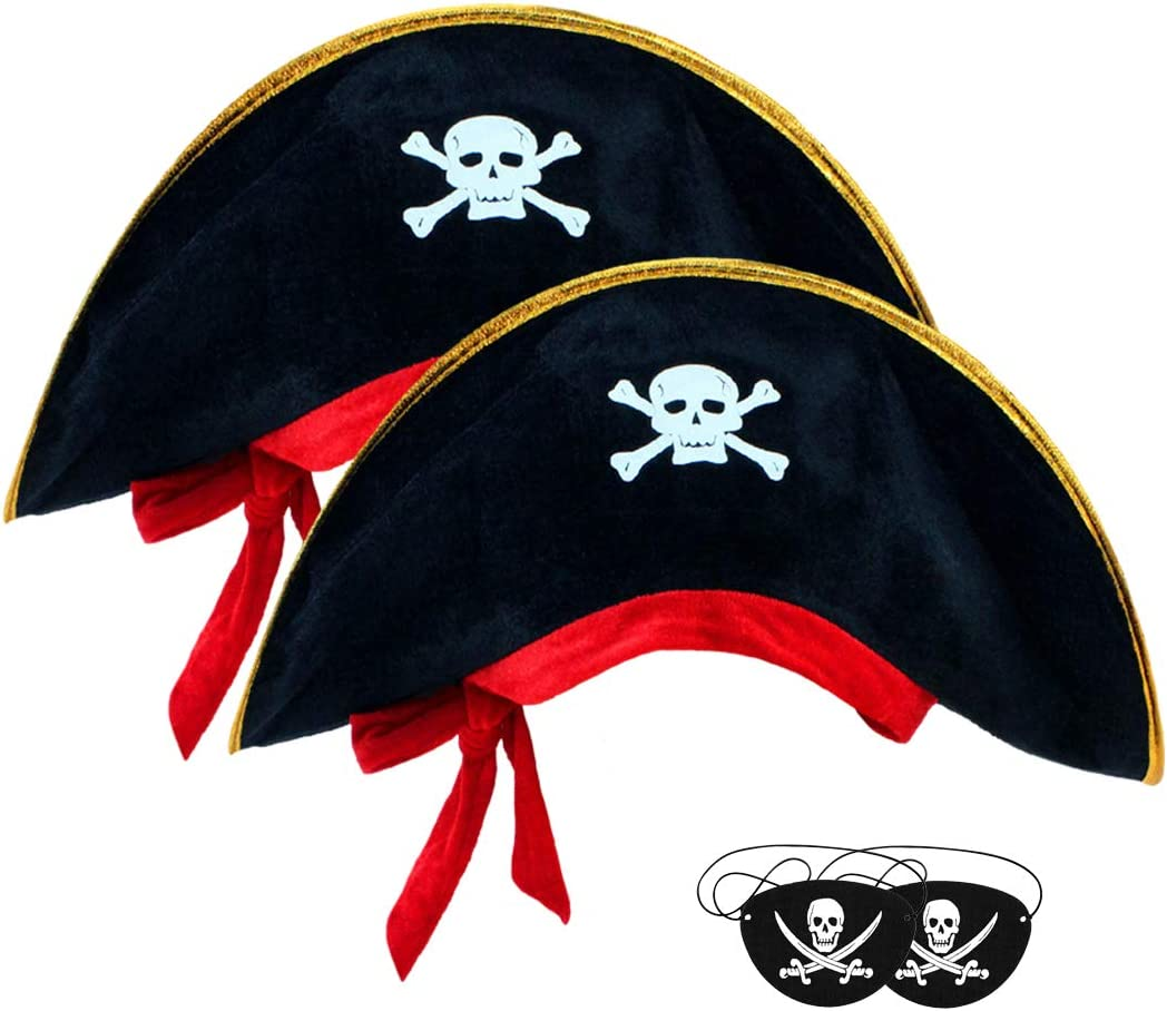 2pcs Caribbean Pirate Captain Hat With Eye Patch Classic Skull Print Pirate Captain Costume Cap Pirate Accessories For Halloween Masquerade Party