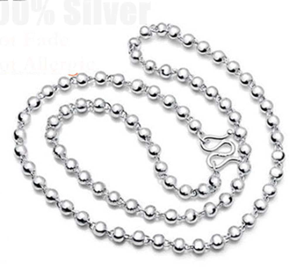 Richy-Glory 925 Sterling Silver 4MM Beads Chain Necklace