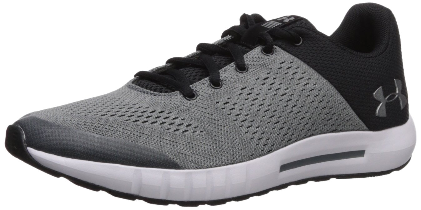 UNDER ARMOUR boys Grade School Pursuit Sneaker, Black (002)/Zinc Gray, 4