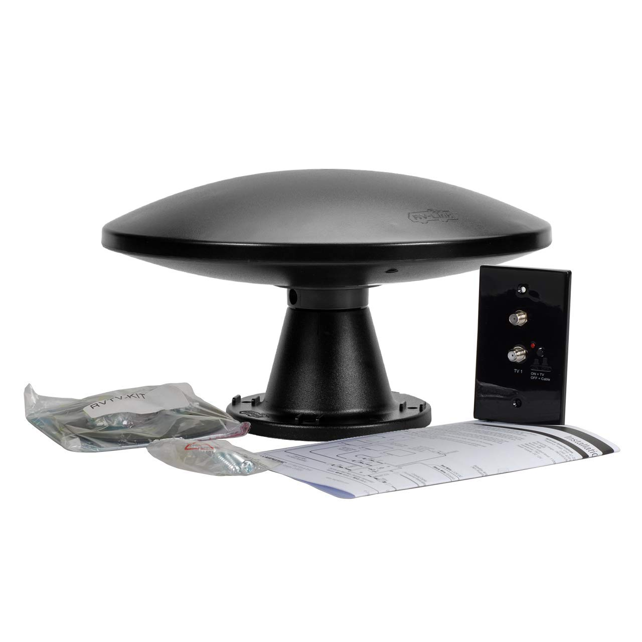 Magnadyne RVTV-B2 Omni-Directional Amplified TV/AM/FM Antenna and Distribution Plate Black by MobileVision (Image #1)