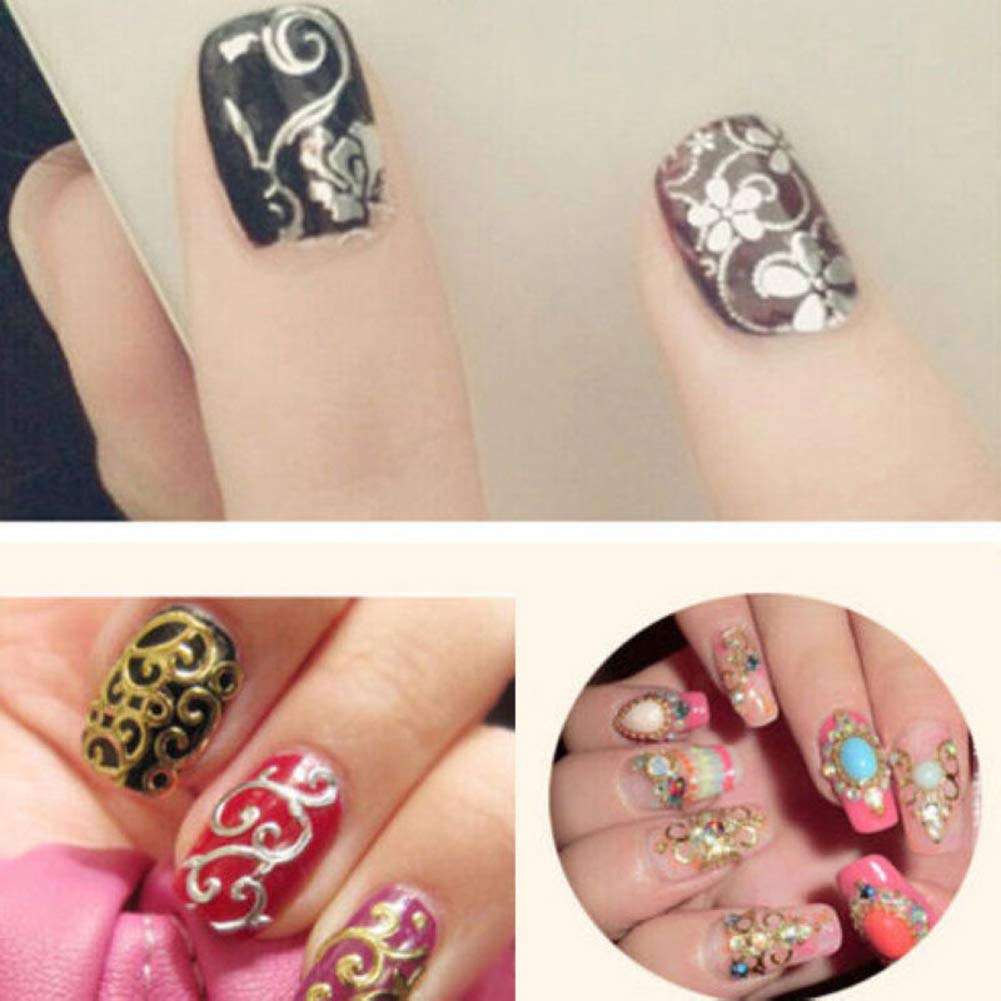 Amazon com yuye 12 sheets luxury flower nail art sticker women manicure nail tip diy decoration