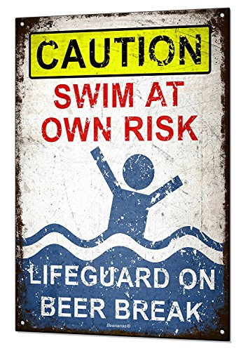 (Lifeguard on Beer Break Metal Tin Sign Plaque Funny Pool Beach Bar Swimming by Beenanas)