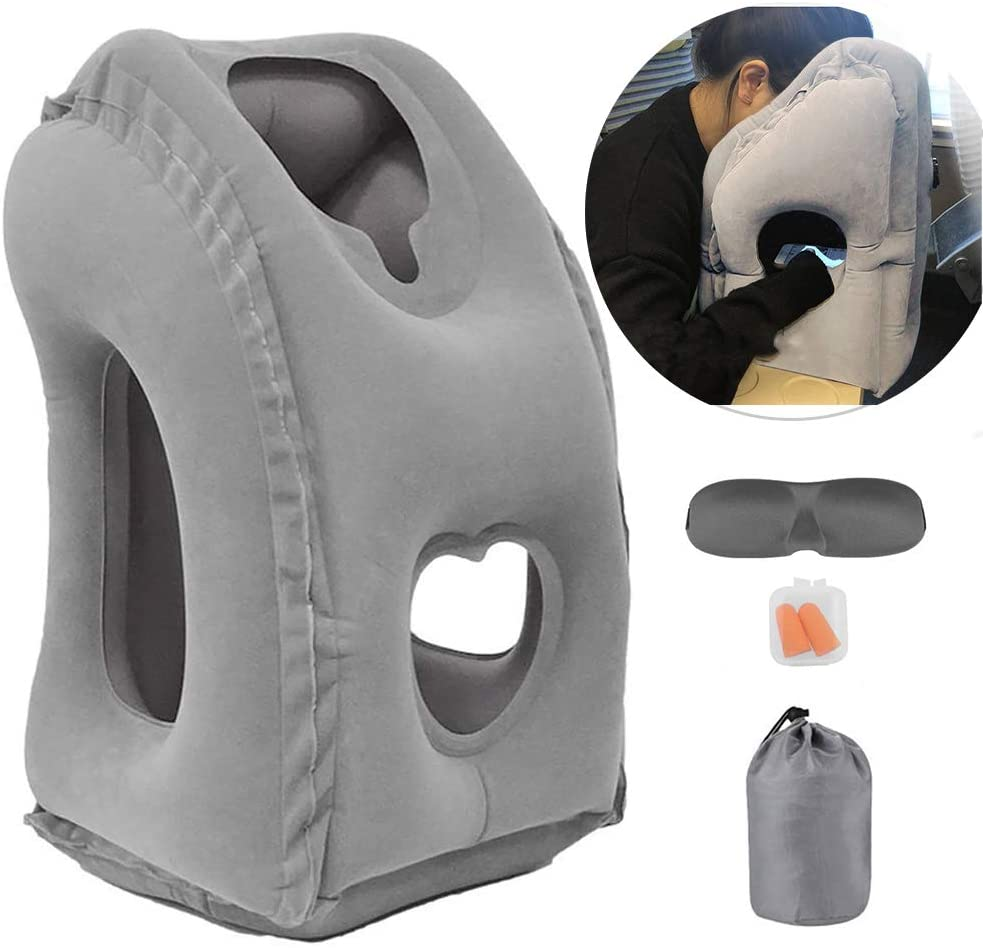 Perfect Gift Travel Pillow Nap Pillow Grey HOMPO Portable Inflatable Neck and Head Support Pillow for Sleeping on the Airplane Train Car Home Camping Office