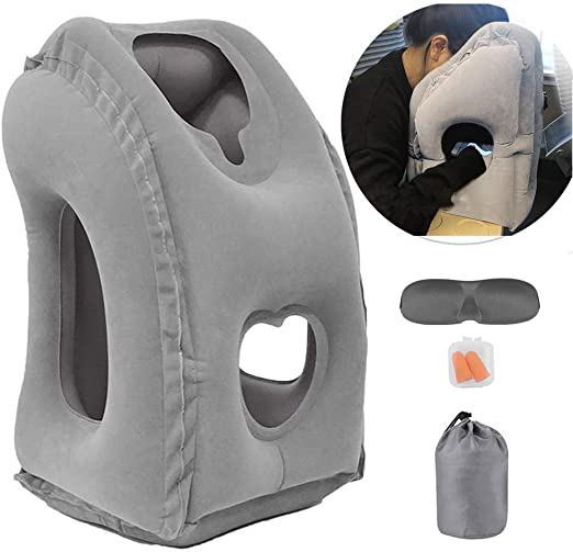 Inflatable Travel Pillow for Airplane, inflatable Neck Air Pillow for Sleeping to Avoid Neck and Shoulder Pain, Comfortably Support Head, Neck and ...