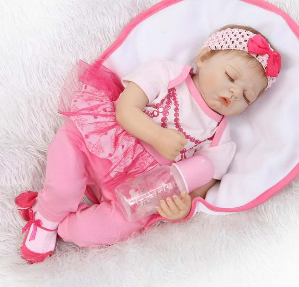 Reborn Babies that Look Real Girl Sleeping、リアルな新生児赤ちゃん人形Weighted、Rootedモヘア、with Magneticおしゃぶり、Realベビーサイズ   B07BL2NLMP