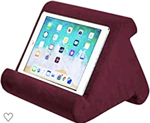 Tablet Pillow Stand - AUMA Multi-Angle Soft Pillow Holder for iPads, Tablets, eReaders, Smartphones, Books, Magazines on Bed, Knee, Desk, Sofa, Floor- Red
