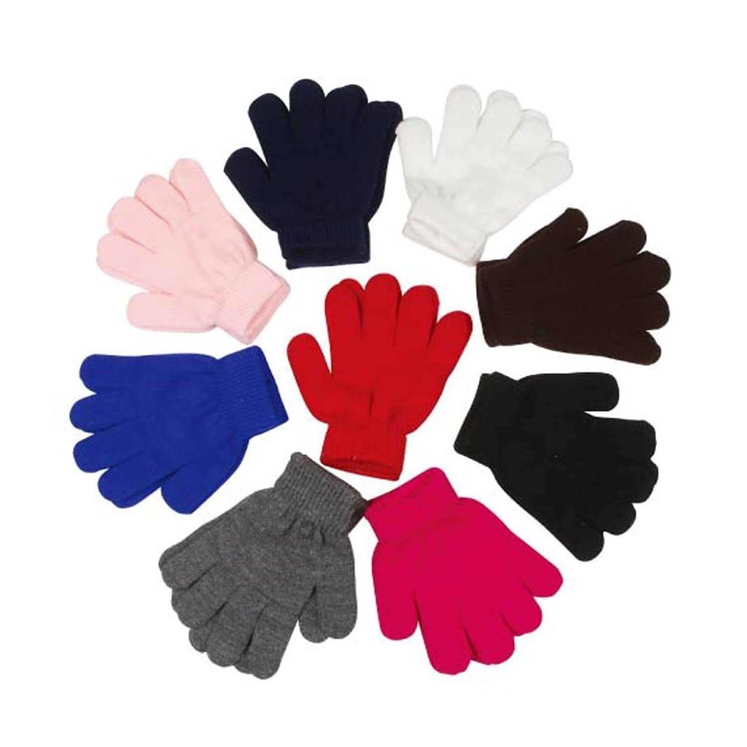 Children Warm Magic Gloves 12 Pairs Toddler Winter Gloves Baby Girls Knit Gloves(2 to 6 years old) (Rainbow Assorted)