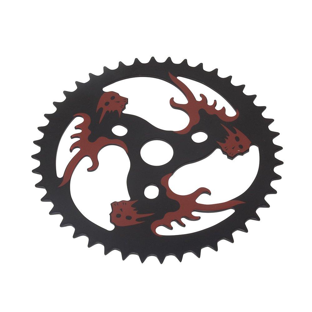 Fenix 2-D Skulls Bike Sprocket/Chainring, 44T 1/2 X 1/8, Black/Red