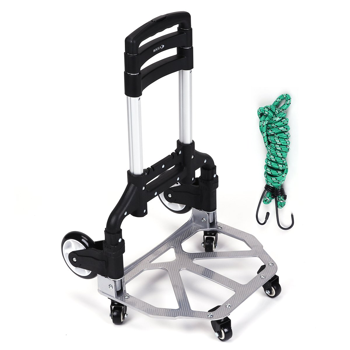 Bocca Folding Hand Truck, 165 Capacity Aluminum Portable Height Adjustable Utility Cart with Wheels (6 Wheels)