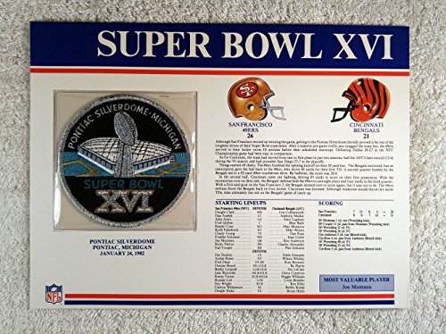 Super Bowl XVI (1982) - Official NFL Super Bowl Patch with complete Statistics Card - San Francisco 49ers vs Cincinnati Bengals - Joe Montana MVP -