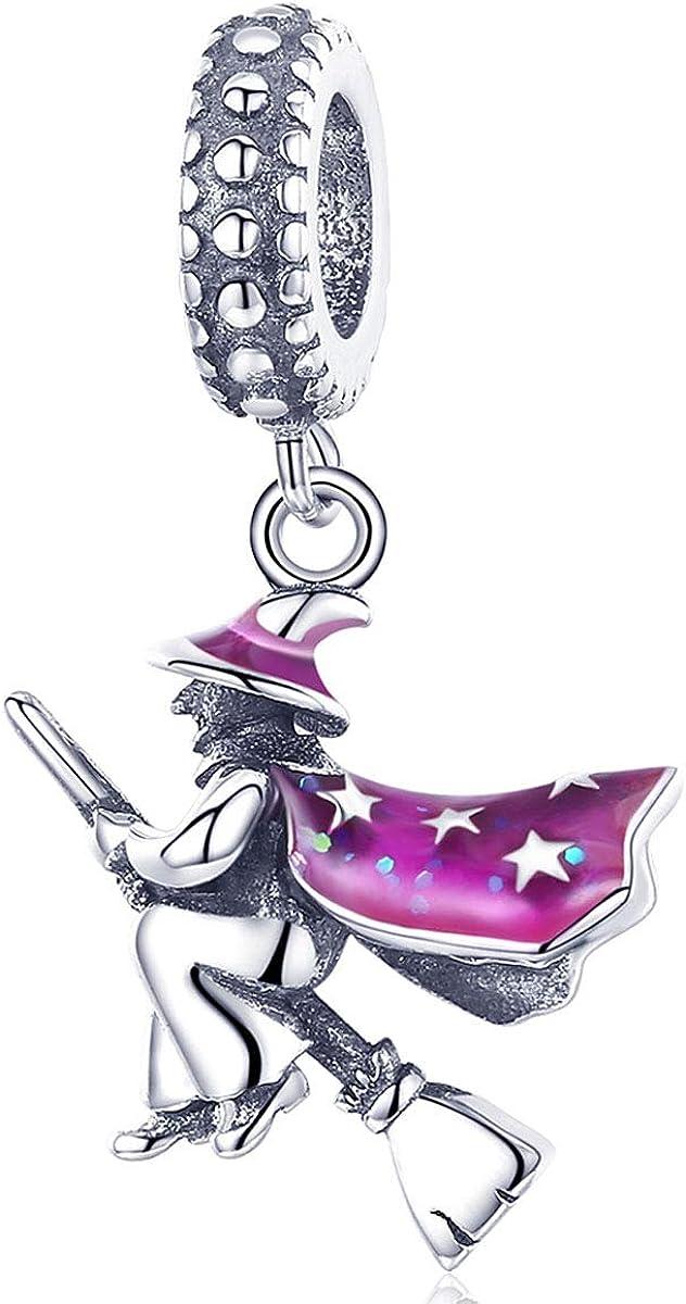Reiko Abalorio de Bruja en La Escoba,Colgante de Plata de Ley 925,Originales Charm para Pulseras Pandora&Chamilia y Collares,Joyería para Mujer y Niña