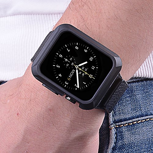 iiteeology Replacement for Apple Watch Case 42mm, Universal TPU Protective Case for Apple iWatch Series 3 Series 2 Series 1 - Matte Black