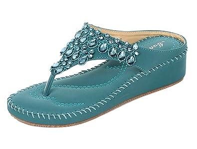 DQQ Damen Tanga Strass Stich Keil Sandale, Blau - 3 - Größe: 37