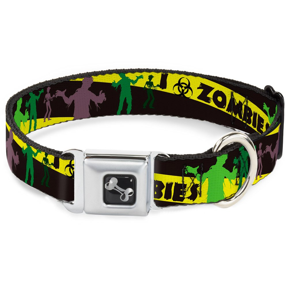Buckle-Down Seatbelt Buckle Dog Collar Zombies Biohazard Black Yellow Green 1.5  Wide Fits 13-18  Neck Small