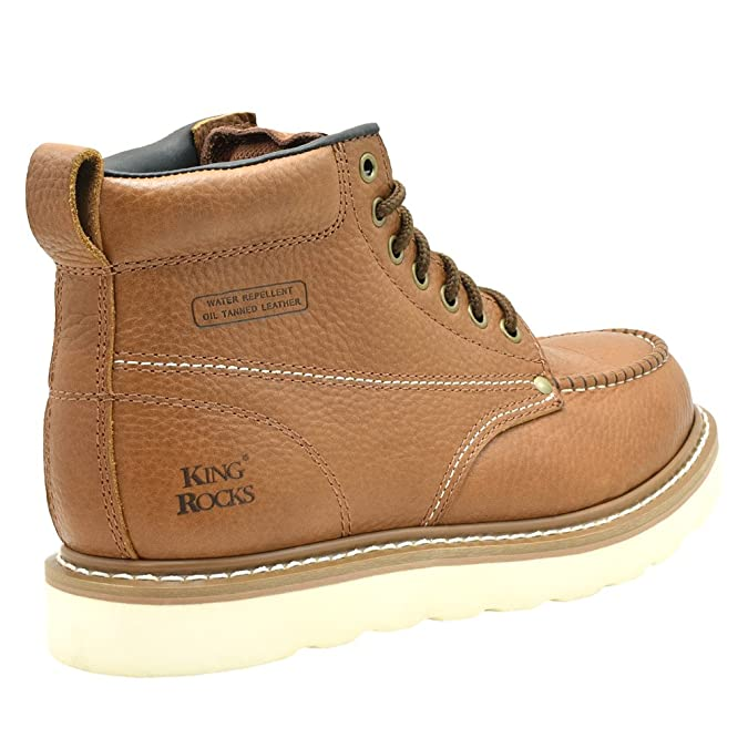 King Rocks Mens Moc Toe Construction Boots Work Shoes