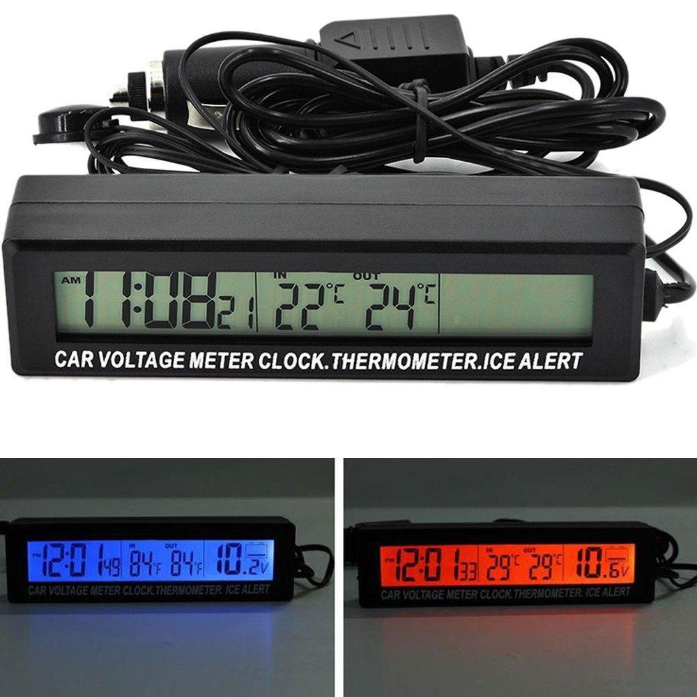 PolarLander 3-in-1 Car Digital Display LCD Orologio voltmetro termometro della Batteria Durevole Tensione Temperature Monitor Meter