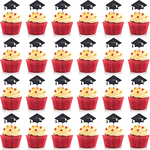 Hestya Total 30 Pieces Graduation Cake Topper Cupcakes Cap Decoration, Black