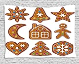 heat lamp for sugar art - XHFITCLtd Gingerbread Man Tapestry, Set of Graphic Gingerbread Sugar Biscuits with Colorful Dots and Bonbons, Wall Hanging for Bedroom Living Room Dorm, 80 W X 60 L Inches, Multicolor