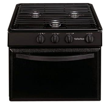 Suburban 3215A 22quot RV Gas Range With Black Textured Steel Door