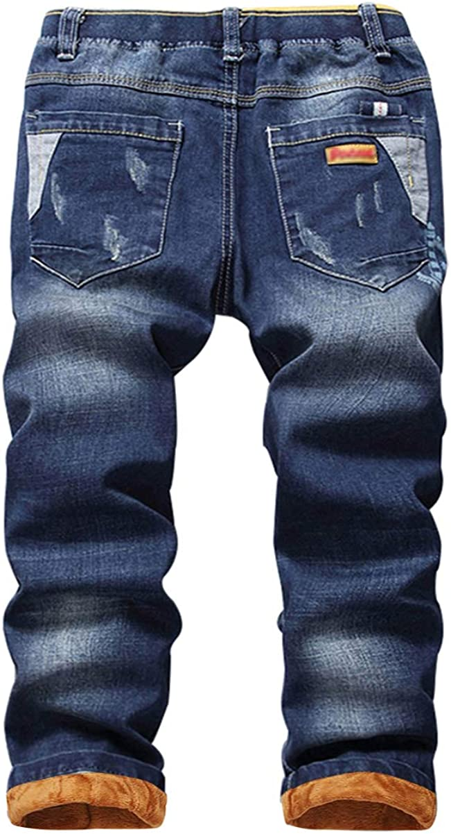 YoungSoul Boys Flannel Lined Jeans Winter Elastic Waist Denim Trousers