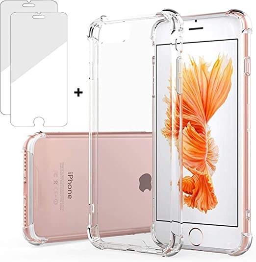 Coque pour iPhone 6 / iPhone 6S Coque avec 2 protections d'écran en verre trempé, Kinoto Clear Lifeproof Bumper Cases pour Apple iPhone 6 / 6S Qi Slim ...
