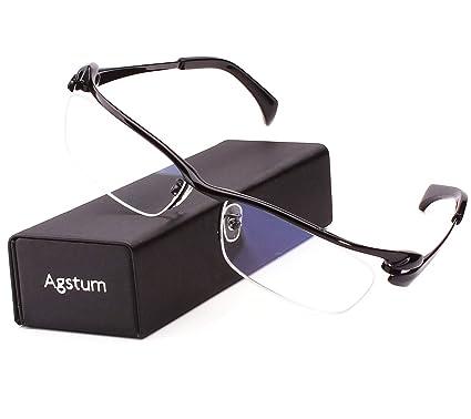 868a9f9a76 Agstum Pure Titanium Half Rim Optical Business Glasses Frame Clear Lens  (Black