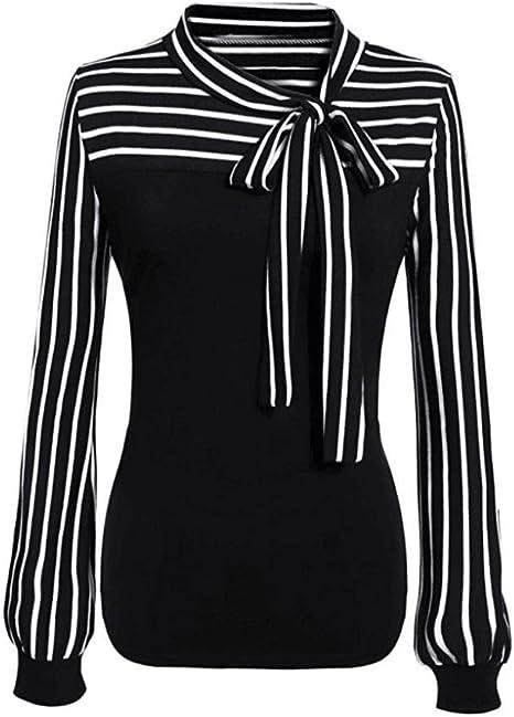 Blusas Elegantes Mujer,Modaworld Camisa de Manga Larga a Rayas con Cuello Alto y Lazo de Mujer Sexy Tops Camisetas Mujer Blusas de Fiesta señoras Camisas de Vestir: Amazon.es: Deportes y aire libre