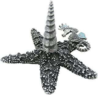 product image for American Made Pewter Starfish Ring Holder with Enameled Seahorse Accent
