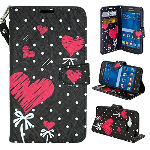 Samsung Galaxy Core Prime G360 Case - Customerfirst, Credit Card Wallet Style Case Cover For Samsung Galaxy Core Prime G360 With Wrist Strap (Red Polka Dot Hearts)