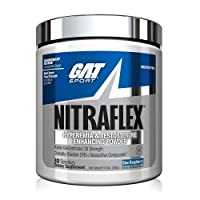GAT Sport, NITRAFLEX Testosterone Boosting Powder, Increases Blood Flow, Boosts Strength and Energy, Improves Exercise Performance, Creatine-Free (Blue Raspberry, 30 Servings)