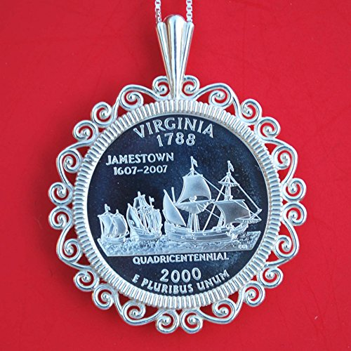 (US 2000 Virginia State Quarter 90% Silver Proof Coin Soild 925 Sterling Silver Necklace w. 20