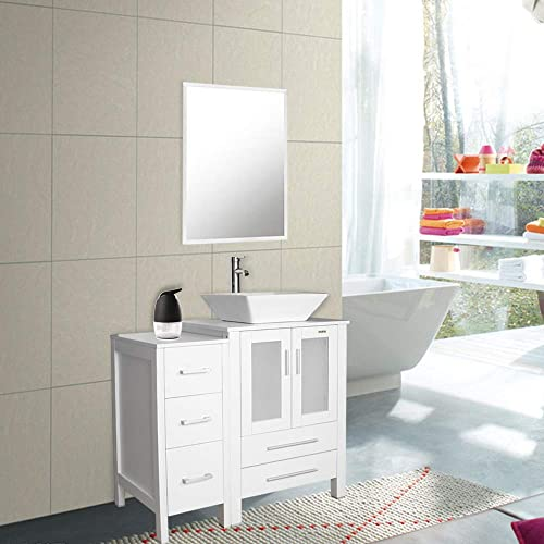 36″ White Bathroom Vanity and Sink Combo,Counter Top Baisn Square Ceramic Vessel Sink w/Faucet/Pop Up Drain,Removable Vanity MDF board,W/Mirror